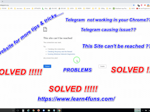Telegram this site can't be reached chrome browser solved