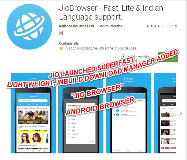 "Jio launched  lightning fast light weight coolest   ""Jio Browser"""