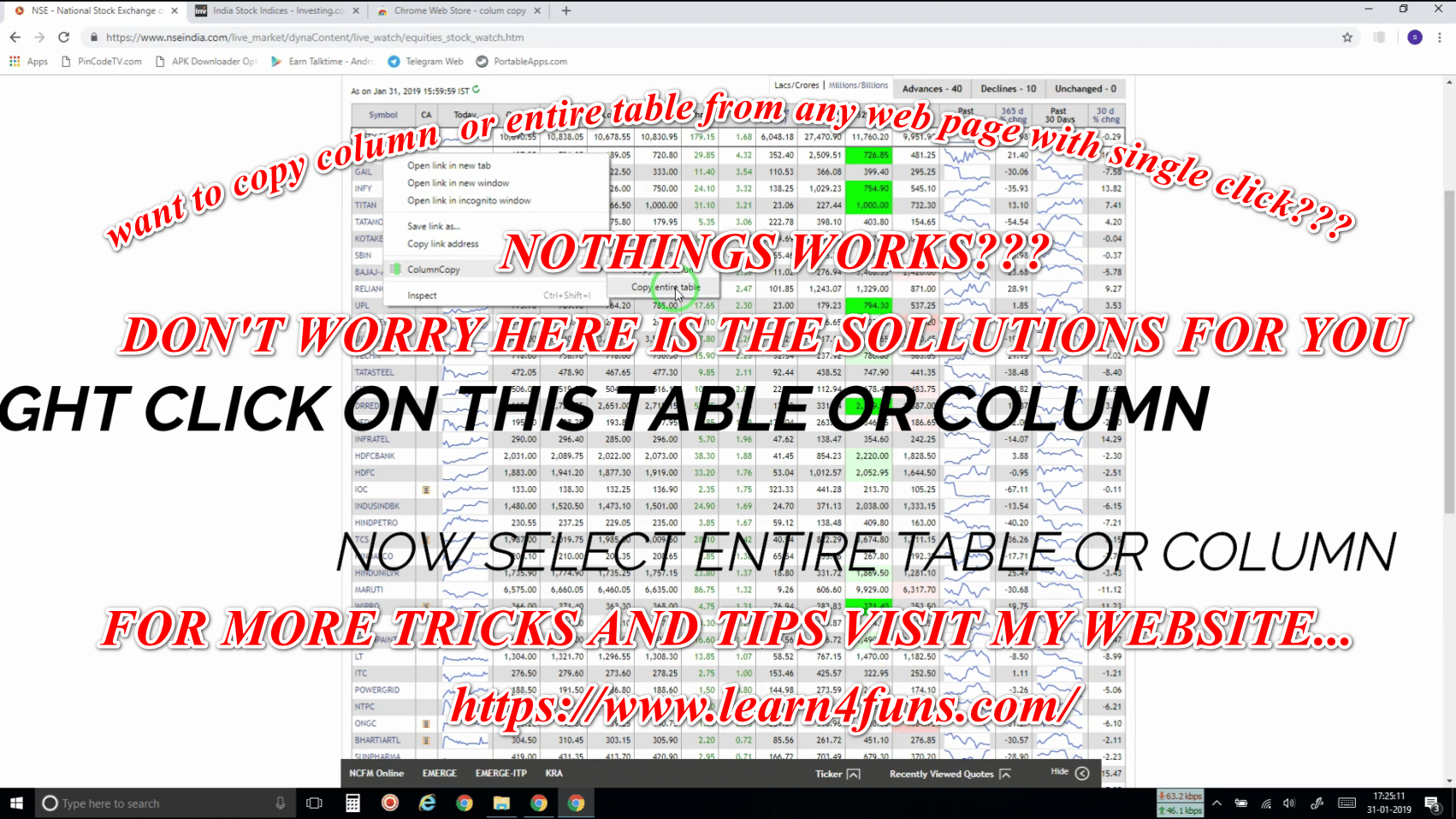 COPY ANY COLUMN OR WHOLE TABLE JUST A SINGLE CLICK FROM ANY WEB PAGE